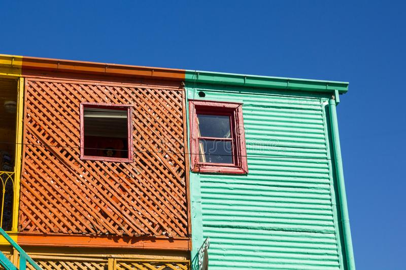 Old colorful buildings of wood of La Boca, Buenos Aires, Argentina. Old colorful buildings of wood on the famous little road Caminito, in the neighborhood of La stock image