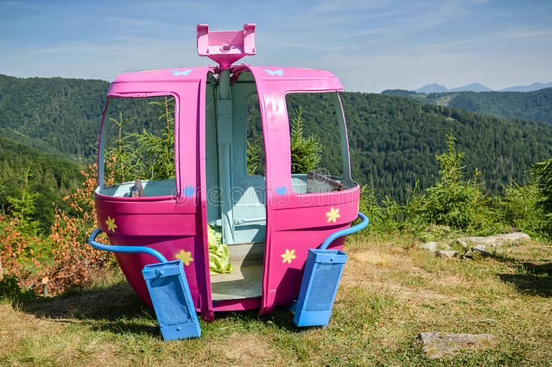 Old colorful cable car cabin on top of Velka Raca skiing resort near Oscadnica royalty free stock images