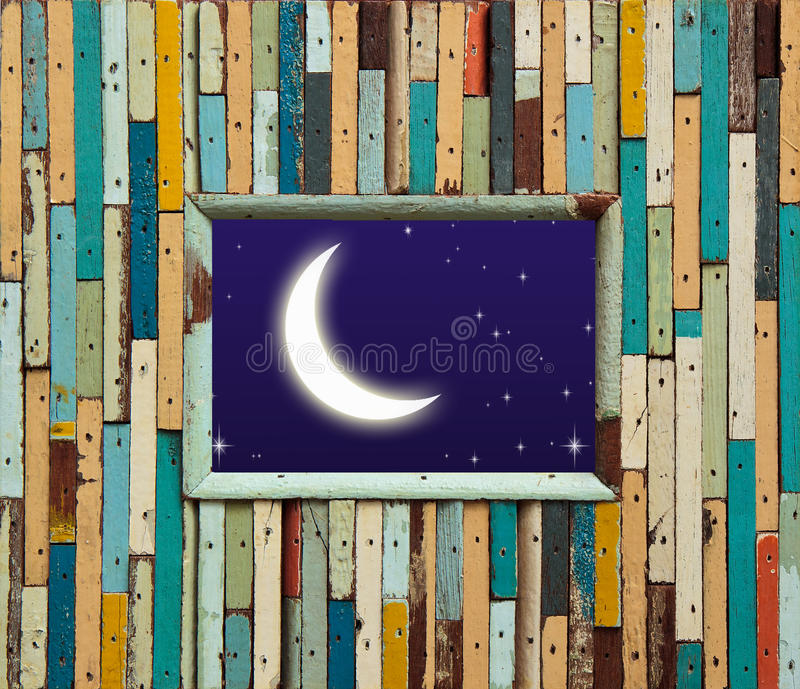 Download Old Colorful Wood Wall With Moon And Star Stock Image - Image of natural, building: 39503297