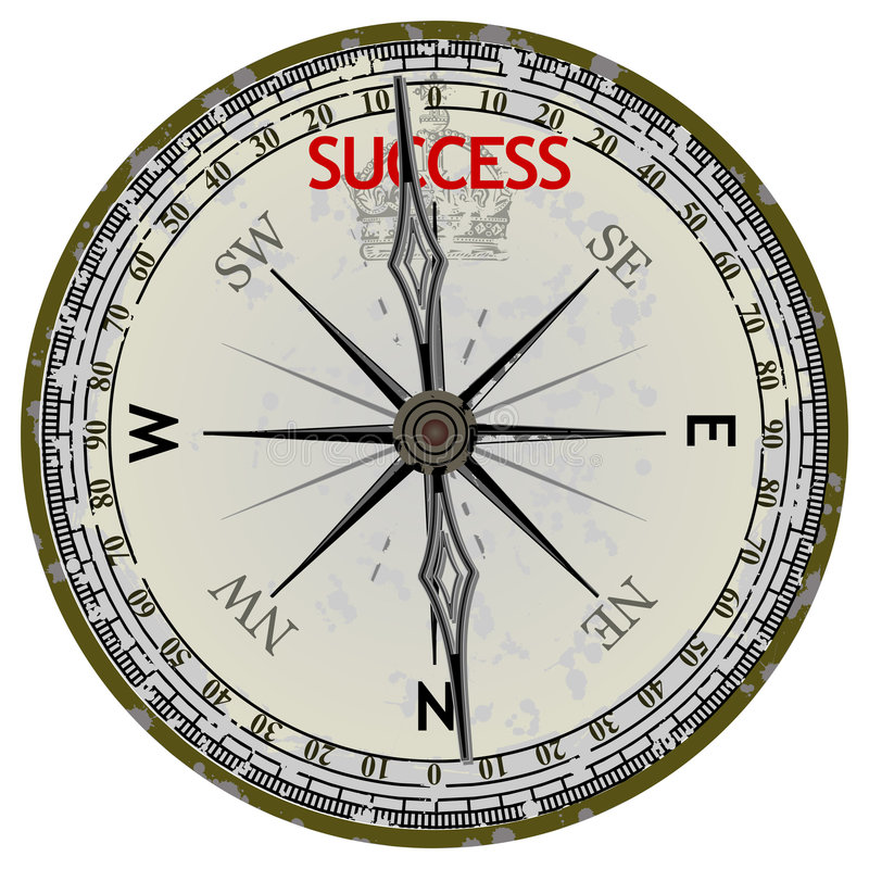 Old Compass. Course To Success stock illustration
