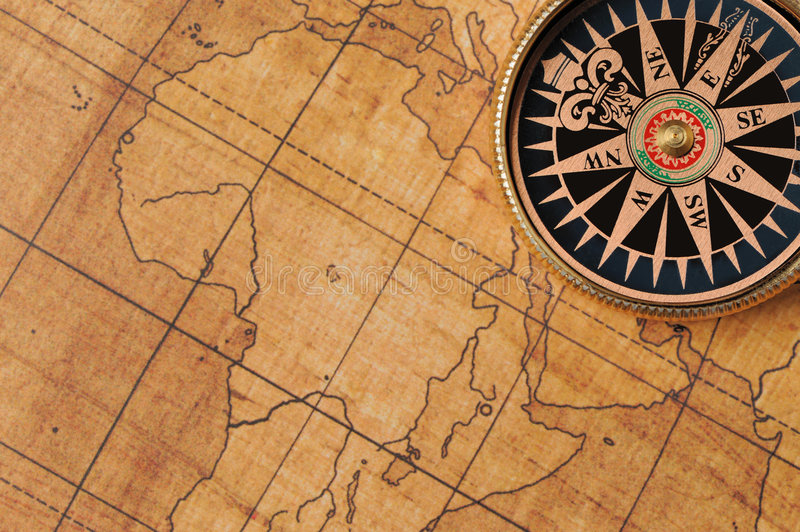 Old compass and map royalty free stock images