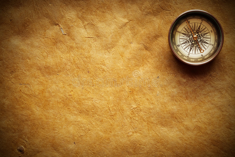 Old Compass And Paper Royalty Free Stock Image