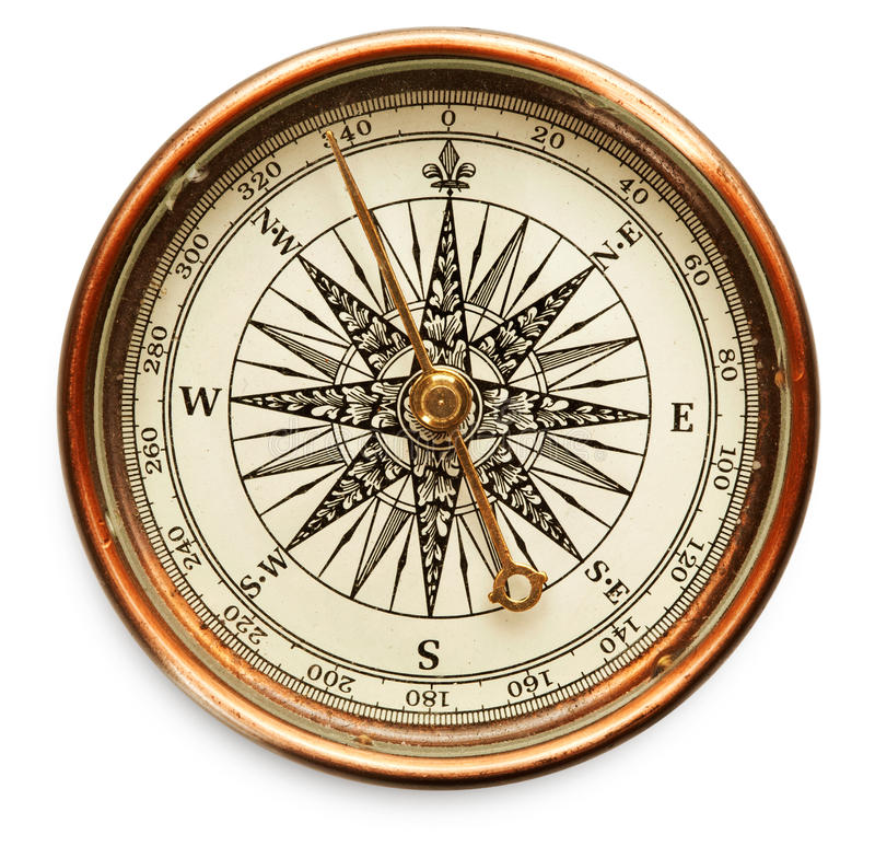 Old compass on white background royalty free stock photo