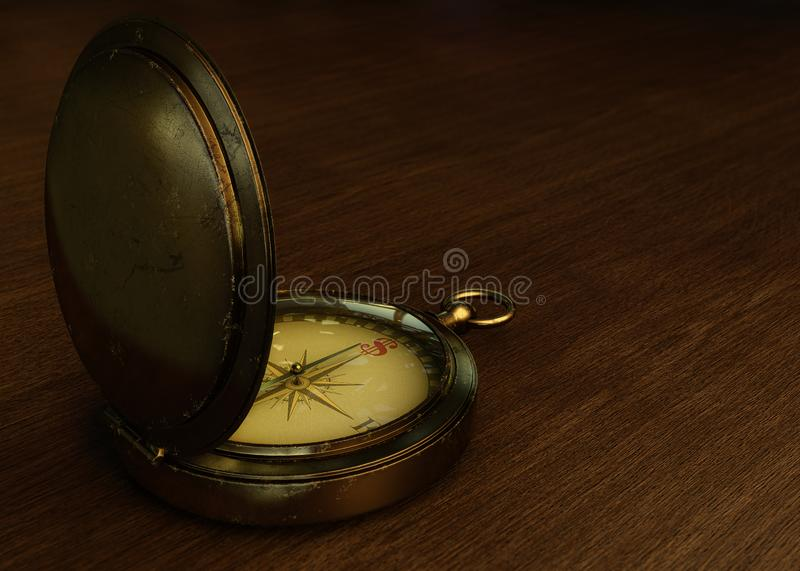Old compass on a wooden table with the north replaced by the dollar sign. 3D illustration of an old metal compass with dollar sign royalty free illustration