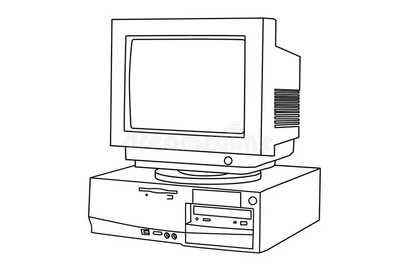Old computer and monitor vector illustration