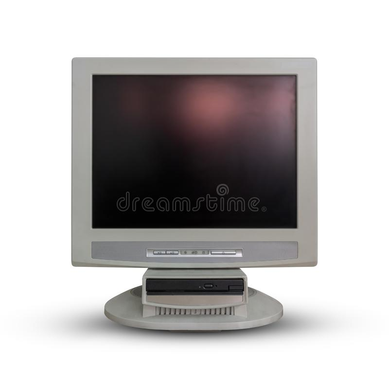 Old computer monitor on white. stock images
