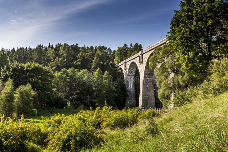 Old concrete railway bridge in Stanczyki, Mazury, Poland.  royalty free stock image