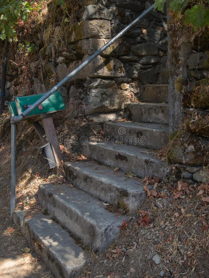 Old concrete steps and mailboxes royalty free stock photography