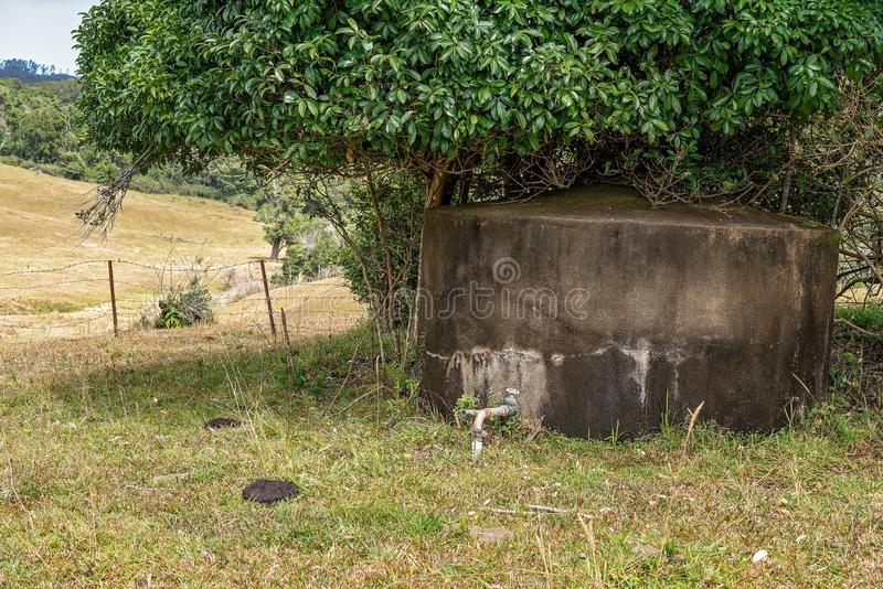 Old Concrete Tank For Storing Water For Cattle. An old concrete water tank under a tree in a dairy pasture on a rural property with cow pat in the foreground royalty free stock image