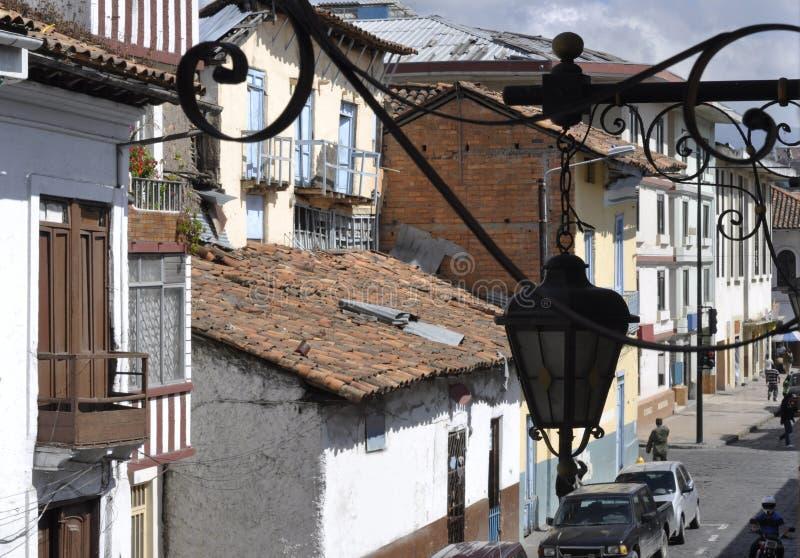 Old conquistador´s Town Cuenca in Ecuador stock image