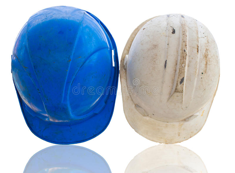 Old construction helmets stock images
