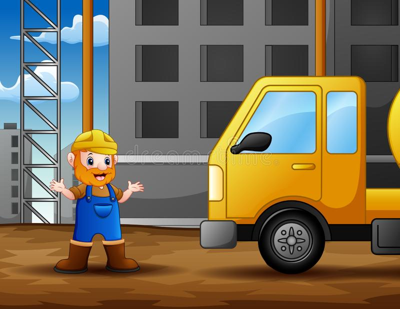 Old construction worker at construction site background. Illustration stock illustration