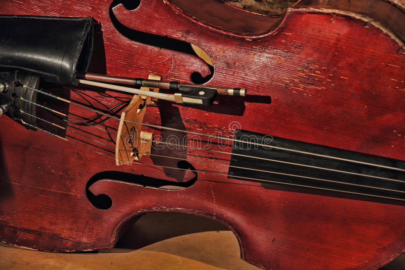 Old contrabass taken closeup. Toned image stock image