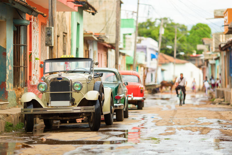 Old convertible car on street of Trinidad, Cuba stock image
