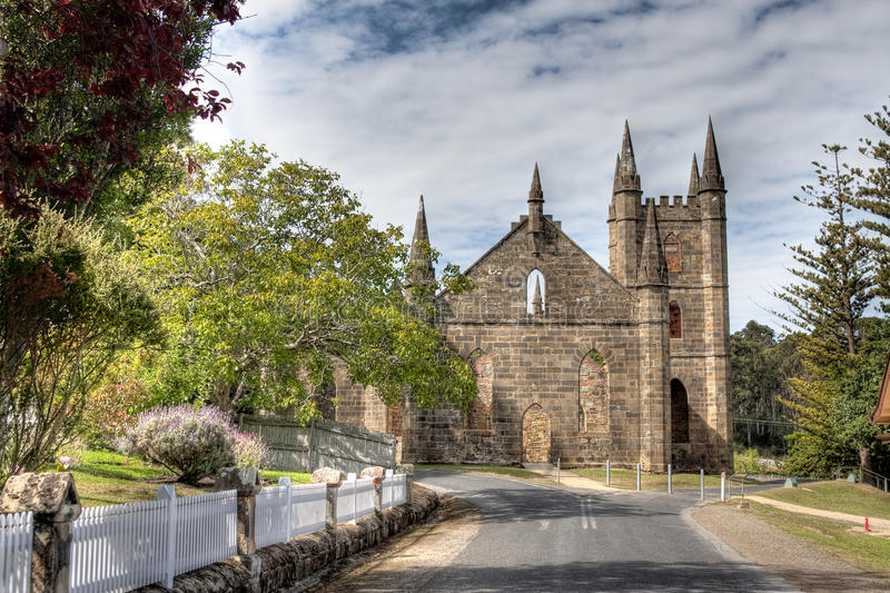Old convict church. Remains of the old convict church at Port Arthur in Tasmania, Australia royalty free stock photo