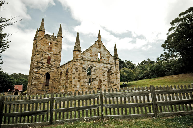 Old convict church, Port Arthur. Remains of the old convict church at Port Arthur in Tasmania, Australia stock photos