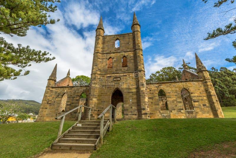 Convict Church Tasmania. Ruins of the Church Convict, ancient historic church convict settlement, at Port Arthur Historic Site, in Tasman Peninsula, Tasmania stock images