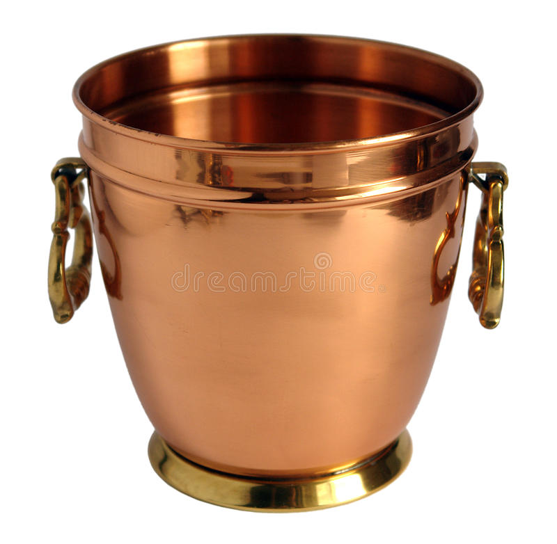Old copper bucket for champagne royalty free stock images