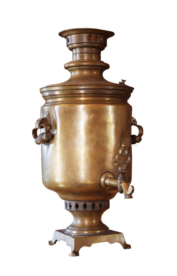 Old copper coal samovar on white isolated. Background stock photo