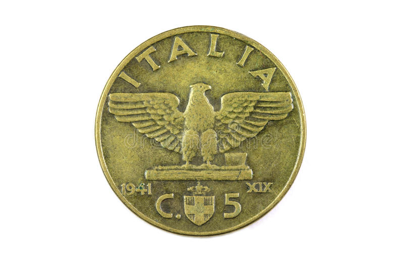 Old copper coin Italian. Closeup stock image