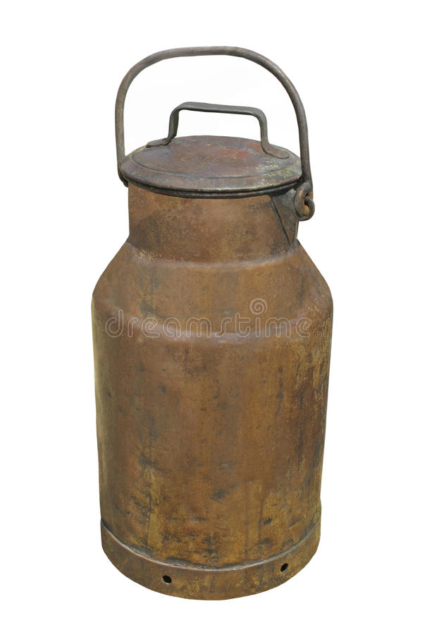 Old copper milk can isolated. royalty free stock photography