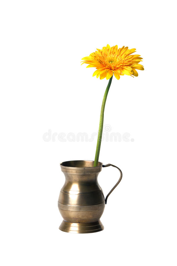 Free Old Copper Pitcher With Flower Stock Photo - 14647040