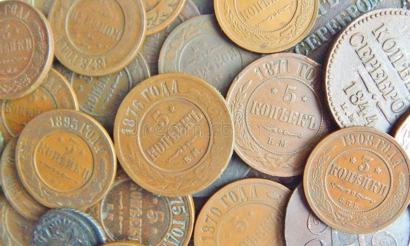 Old copper Russian coin. Old copper coins of Russia, texture royalty free stock photos
