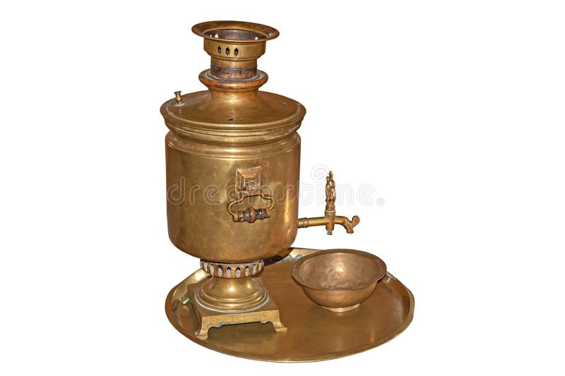 Old copper samovar on tray isolated on white royalty free stock images