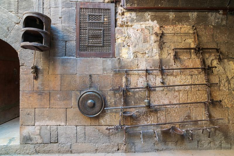 Old copper scale located at the courtyard of Gayer Anderson house, adjacent to Mosque of Ahmad ibn Tulun, Cairo, Egypt. Old copper scale located at the courtyard stock images