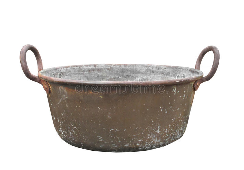 Old copper washtub isolated royalty free stock images