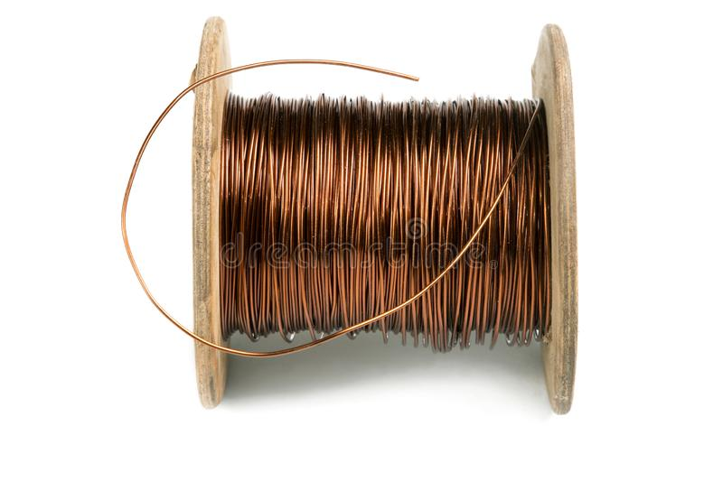 Old copper wire coil isolated on white. Background stock photos