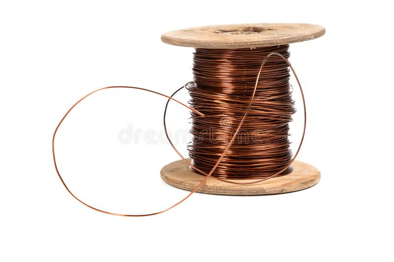 Old copper wire coil isolated on white. Background stock images