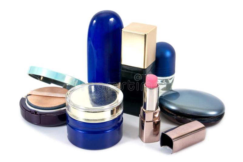 Old cosmetics set isolated. On white background royalty free stock photo