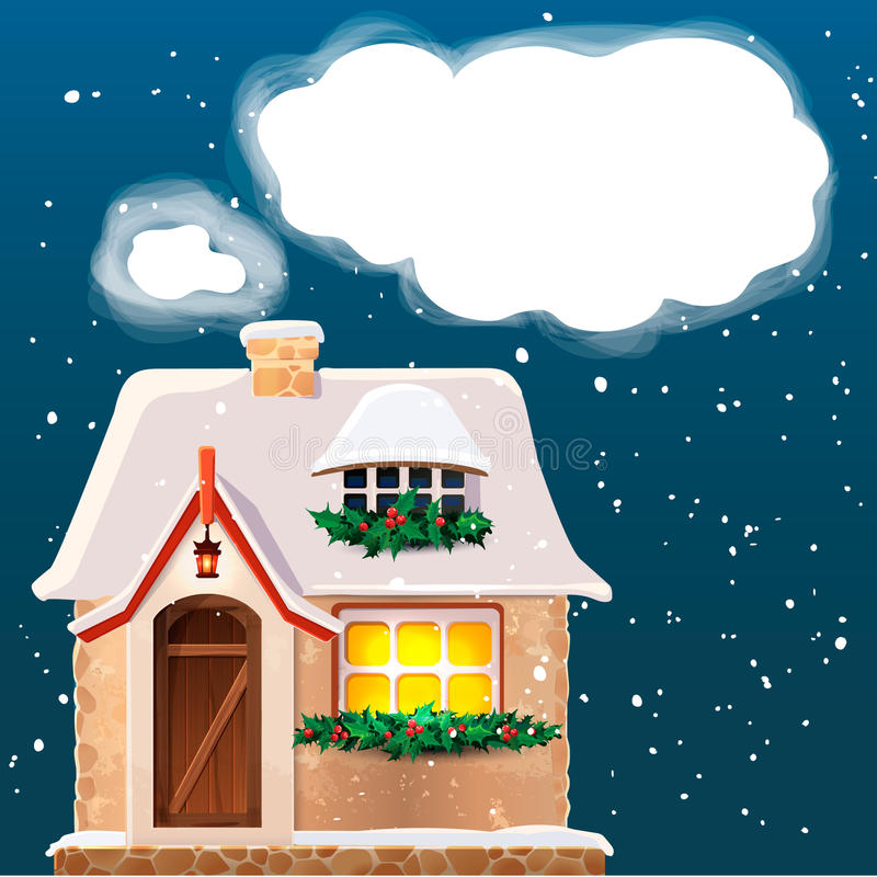 Old cottage covered in snow.Eps 10. Vector stock illustration