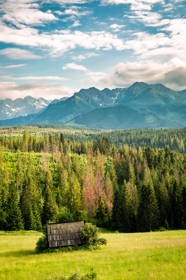 Old cottage on green valley and Tatra mountains at sunset. Europe stock photo