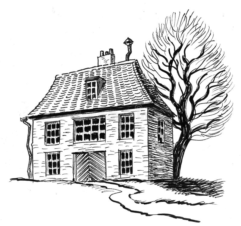 Old cottage stock illustration