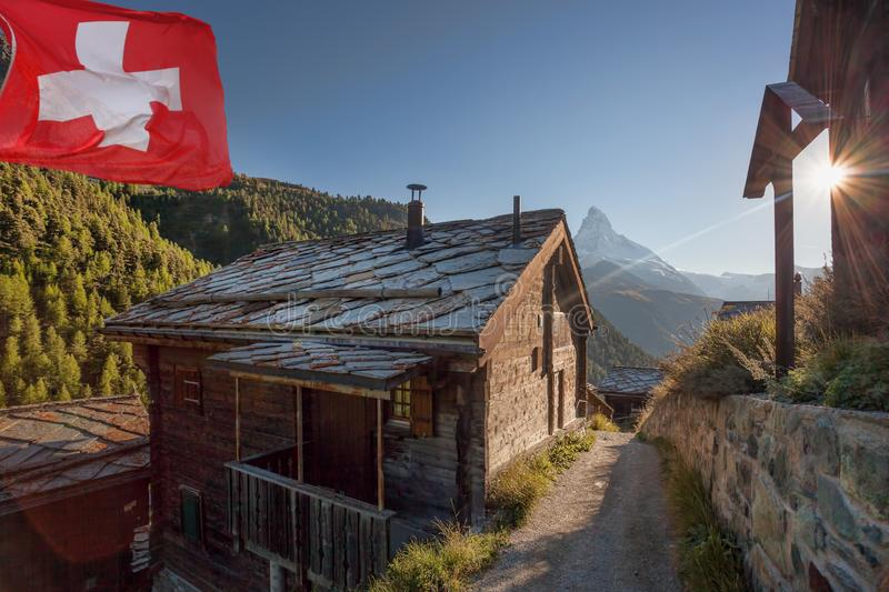 Old cottage with Matterhorn peak in Zermatt area, Switzerland stock photography