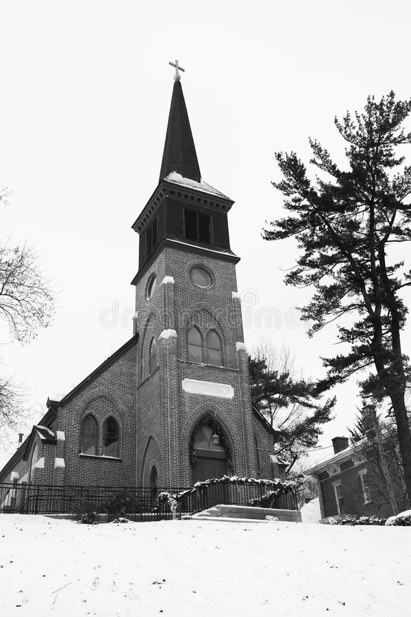 Download Old Country Church In Black And White Stock Image