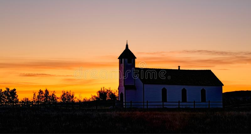 An Old Country Church At Sunrise Alberta Canada