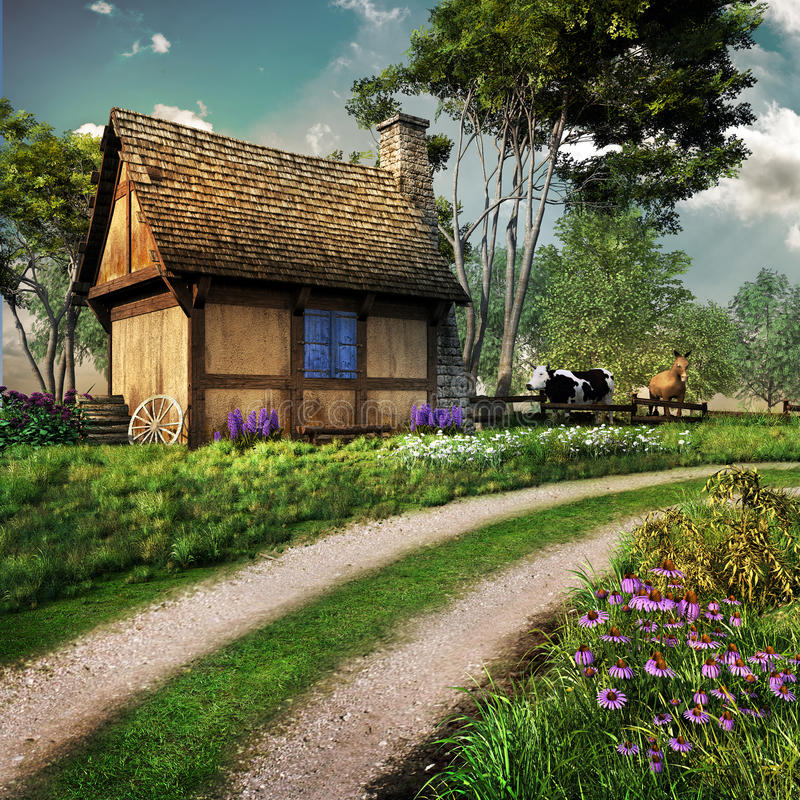 Old country house by the road vector illustration