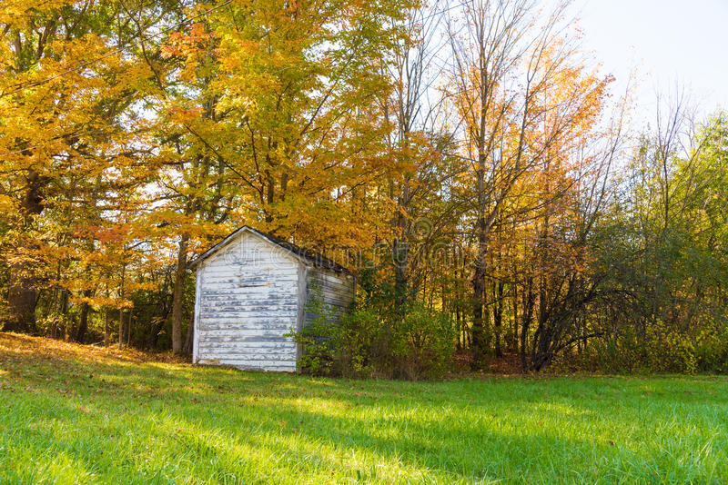 Old Country Shed. An old abandoned country shed surrounded in fall foliage royalty free stock photo