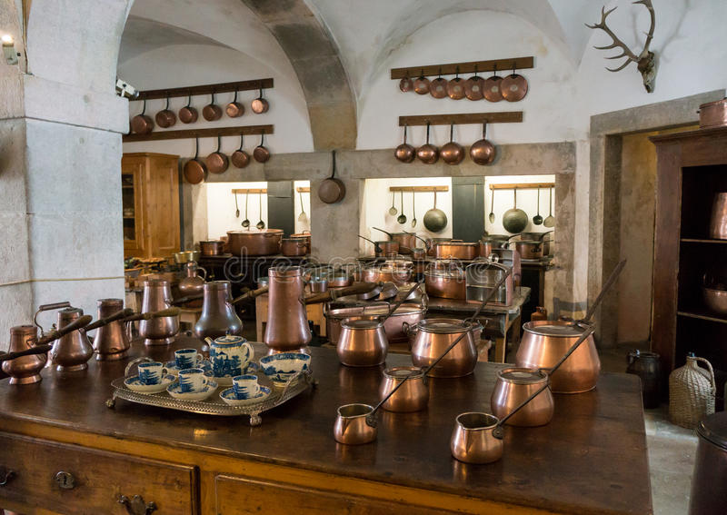 Old country style kitchen with copper pots stock image for Old country style kitchen