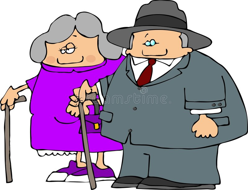 Old Couple royalty free illustration