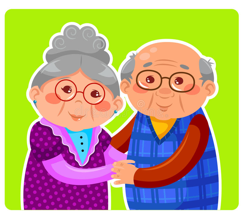 Old couple. Senior couple hugging and smiling vector illustration