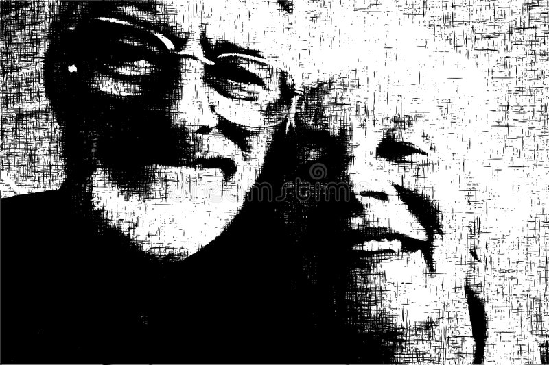 Old couple. Editable vector grunge illustration of a happy old couple stock illustration