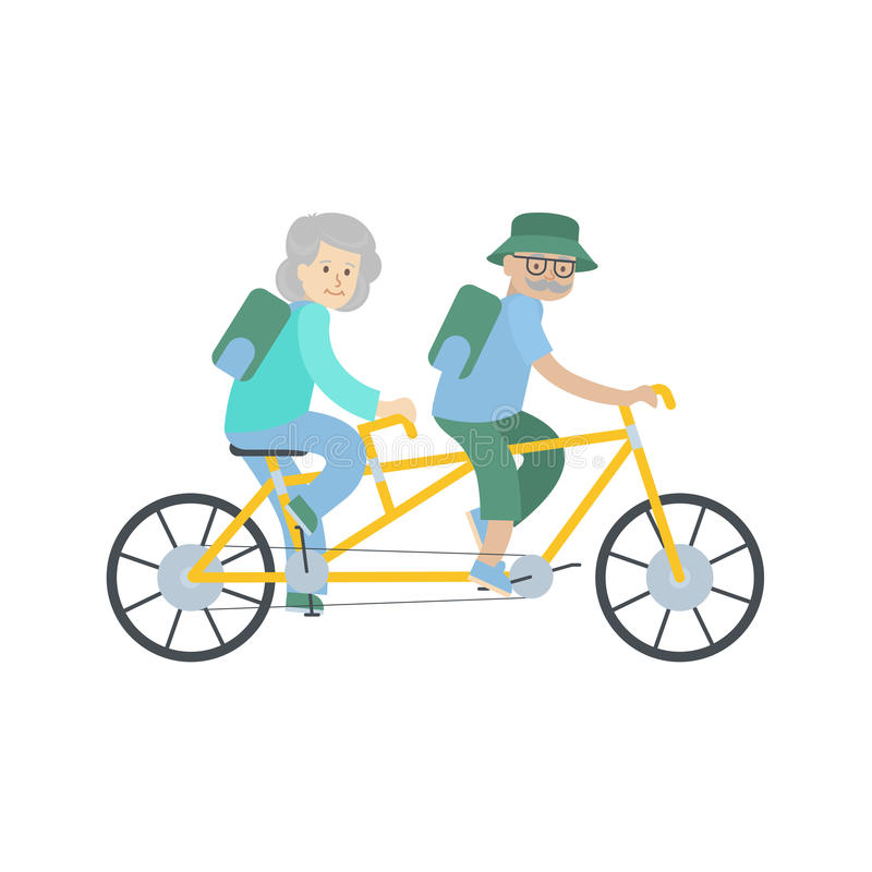 Old couple cycling. stock illustration