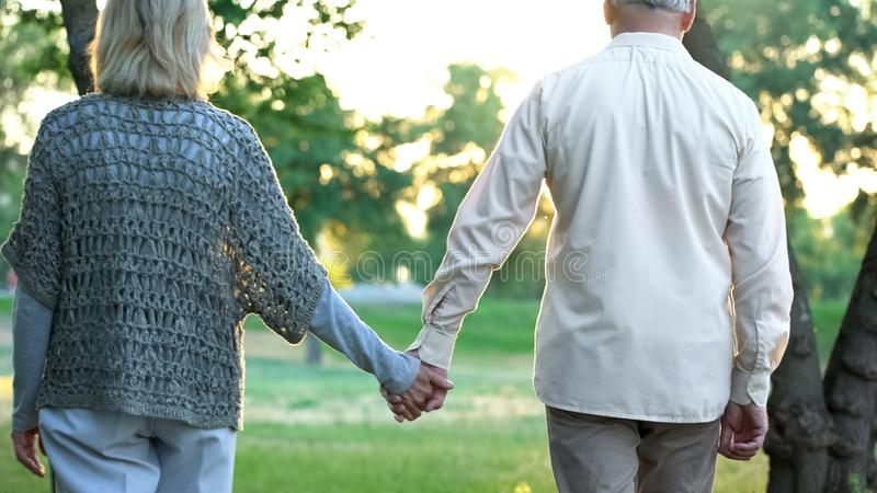 Old couple holding hands and walking in park, romantic date, love and trust royalty free stock photography