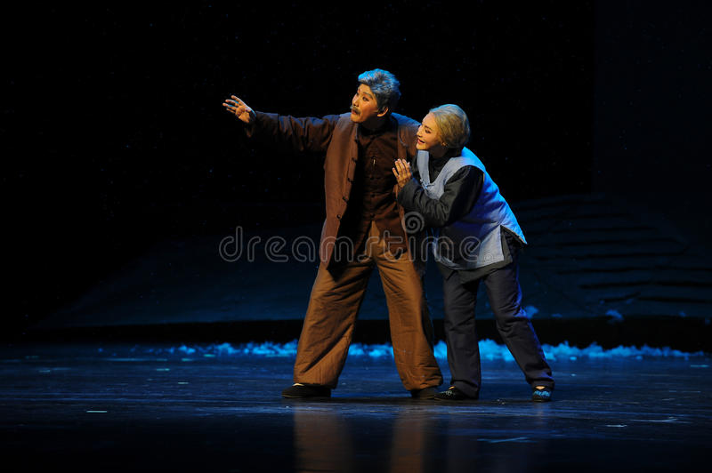 The old couple hope- Jiangxi opera a steelyard. Jiangxi opera a steelyard is adapted from a true story: the last century fortys, the protagonists father runs an stock photos