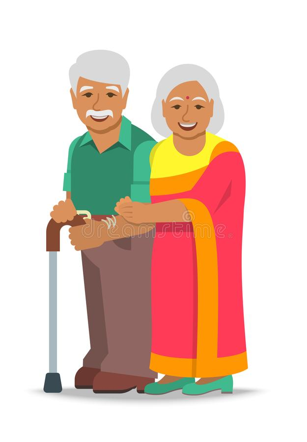 Old couple Indian man and woman standing together. Old couple stands together. Elderly Indian woman in sari holds her husband arm. Vector flat illustration. Aged vector illustration