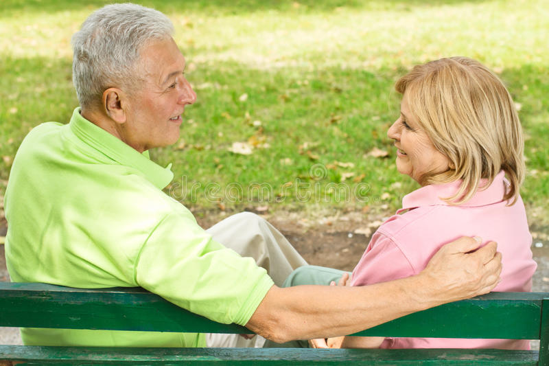 Old couple outdoors royalty free stock images
